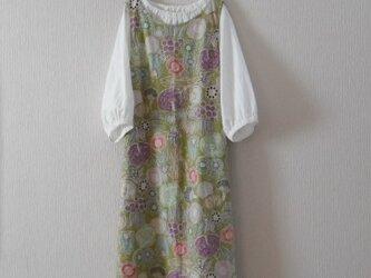 綿麻のジャンパースカート モスグリーンの画像
