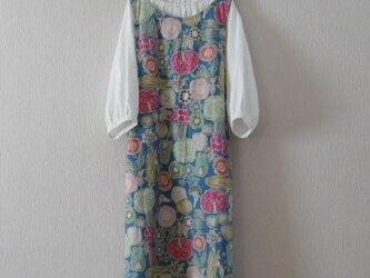 綿麻のジャンパースカート ブルーの画像