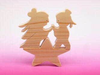 送料無料 ヒノキの組み木 織姫と彦星 七夕の画像