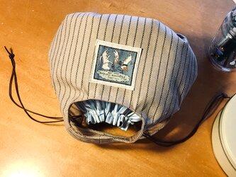 kororin bag basic 巾着付きピンストライプ・ベージュ&ブルー70%バージョンの画像
