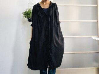 シワになりにくいリネン100% 組み合わせ自由! ボリュームワンピ 黒(×グレージュ)の画像