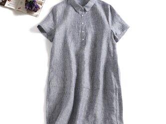 着るほどに愛着がわくストライプワンピース 半袖 麻100% グレー 190709-2の画像