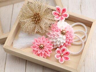 【白&ピンク】春色かんざし ★ つまみ細工の画像