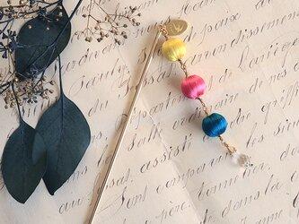 シルクの巻玉とスワロフスキーのかんざし/帯飾り◎CMY【送料無料】の画像