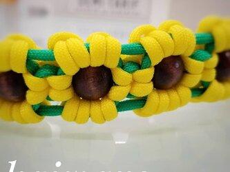 パラコードの首輪 ヒマワリチョークタイプ  夏限定 パラコード首輪花の画像