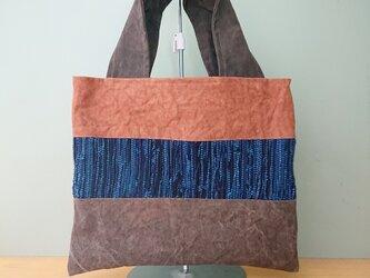 柿渋染め帆布・藍染裂き織りバッグの画像