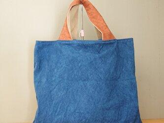 もち手が柿渋染め・藍染め帆布バッグの画像
