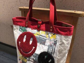 宅急便送料無料☆army duc Wニコちゃん縦型トートバッグ赤の画像