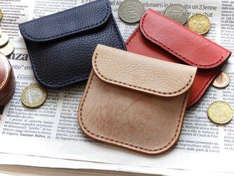 イタリアンレザーのコインケース/小銭入れ/キャメルの画像