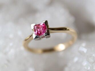 天然ピンクスピネル/スクエアカット指輪の画像