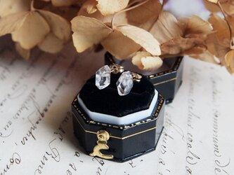 【K18】ハーキマーダイヤモンドの一粒ピアスの画像