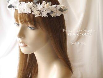 アジサイとユーカリの花冠*シャンパンホワイト*プリザーブドフラワーの画像