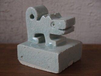 干支 戌 犬 オブジェ 青磁の画像