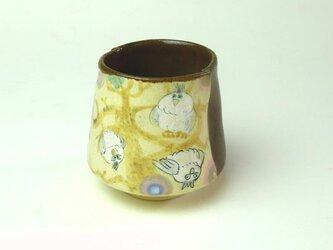 森の神様集合・フクロウの湯飲み/ 陶器/ カップ/ 色絵/ 森/ 陶芸家が作る愉しい器の画像