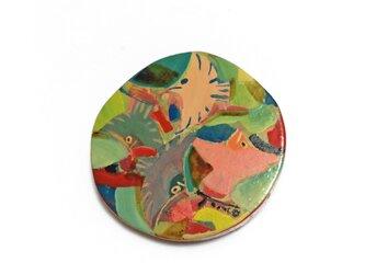 鳥のブローチ(丸)の画像