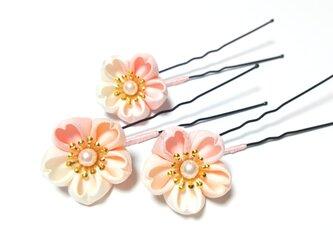 つまみ細工の髪飾り【桜】Uピン3本セット パールの画像
