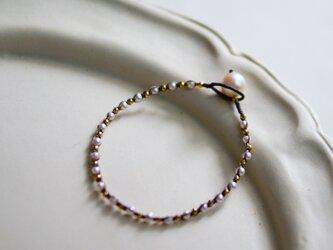 あこや真珠×淡水パール・編みこみブレスレット b0708の画像