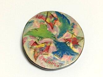 鳥のブローチ(青緑)の画像