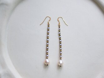 あこや真珠×淡水パール・編みこみロングピアス p0489の画像