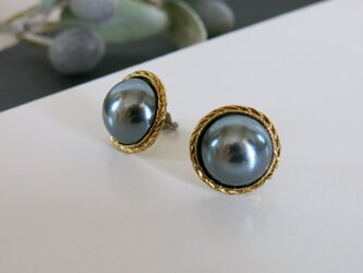 1点のみ☆黒真珠のような美しさ アンティークボタンピアス パールピアス ヴィンテージボタンピアスの画像
