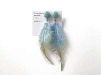 羽根とガラスタイルのイヤリングの画像