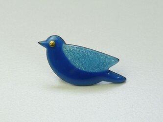 七宝焼ブローチ 青い鳥 (トルコブルー)の画像
