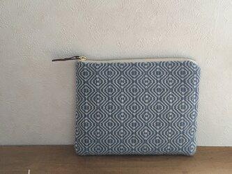 pouch[手織り小さめポーチ]薄ブルー×ホワイトファスナーの画像