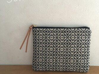 pouch[手織り小さめポーチ]フラワーブラックの画像