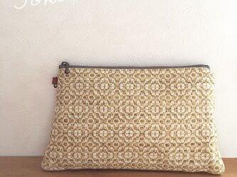 pouch[手織り台形ポーチ] フラワーイエローの画像