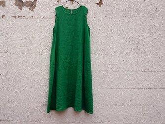 Aライン・ノースリーブlongワンピース(green)の画像