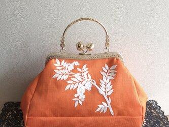 がまぐちバッグ・角型口金  花のつぼみ口金 絽の帯地刺繍バッグの画像