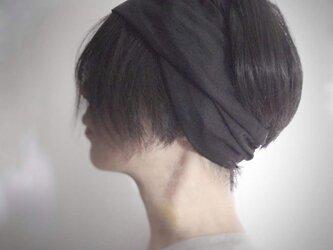 ターバンなヘアバンド リネン黒 送料無料の画像