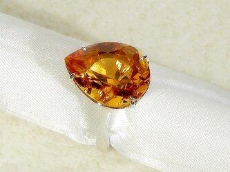 7.60ctシトリンとSV925の指輪(リングサイズ:13.5号、ロジウムメッキ、11月の誕生石、暖かいオレンジ色)の画像
