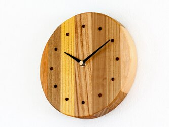 寄せ木の壁掛け時計 円形39の画像