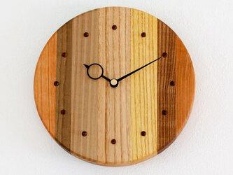 寄せ木の壁掛け時計 円形40の画像