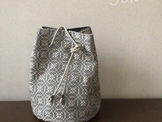 巾着 bag[手織りオーバーショット織 巾着バッグ]ベージュの画像