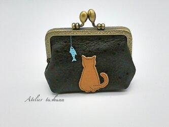 本革メルヘンポーチ✿猫とお魚✿の画像