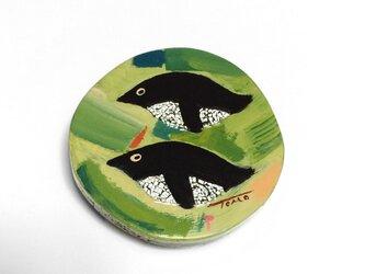 漆ブローチ「penguin」(緑)の画像