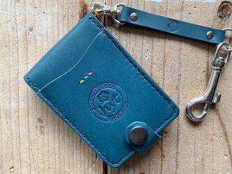 Newホテルのカードキーケース&ドル札用マネークリップ ブルー トラベル革小物の画像