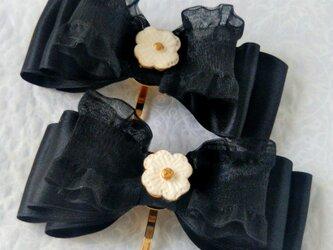 ポニーフック黒リボン 陶花の画像