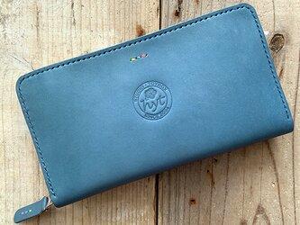 Newバージョン パスポートの入る海外旅行用長財布 トラベル革小物 ブルー 栃木レザー ラッピング可の画像