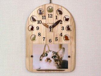 猫時計&フレーム(磁石で固定する額)*最大2Lサイズが飾れますの画像