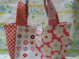 手縫い☆マチ付トート☆桜和柄桃色☆プラスナップ☆裏地なしの画像