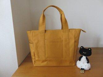 マスタード色帆布のファスナー付きビッグトートバッグの画像