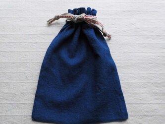 藍染め・バッグイン・巾着_1・赤ラインの画像