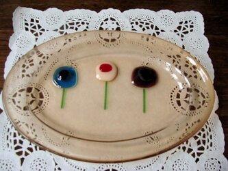 ガラスの楕円皿 道草の画像