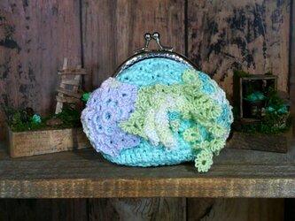 花盛り がま口 07 グリーン ~ レース編み 編み物 タティングレースの画像
