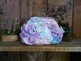 花盛り がま口 09 ピンク ~ レース編み 編み物 タティングレースの画像