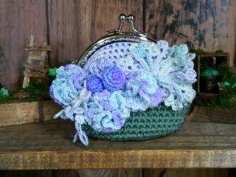 花盛り がま口 11 バイカラー ~ レース編み 編み物 タティングレースの画像