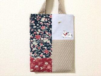 手刺繍浮世絵バッグ*鈴木春信「猫に蝶」の画像